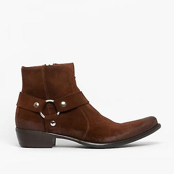 Machete Nevada Mens Suede Leather Harness Zip Ankle Boots Tobacco