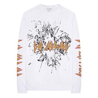 Def Leppard T Shirt Shatter Band Logo new Official White Long Sleeve Unisex