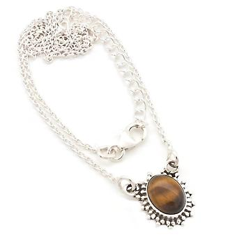 Tiger Eye Necklace 925 Silver Sterling Silver Chain Necklace Brown (MCO 12-18)