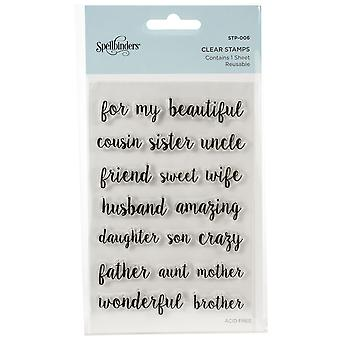 Spellbinders Family Sentiments Clear Stamps