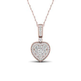 IGI certifié naturel 10k or Rose 0,33 Ct diamant véritable Cluster coeur collier