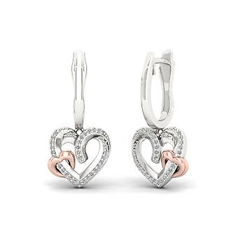 Igi certified sterling silver 0.15ct tw diamond double heart dangle earrings