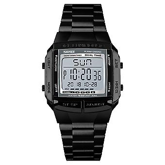 Mens And Kids Digital Watch 5 Alarms Black With Stopwatch Light Countdown DG1381B