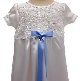 Vit Dopklänning Med Ljusblå Smal Rosett Grace Of Sweden  Ma.v