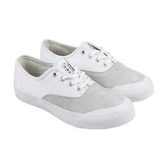 HUF Cromer  Mens White Canvas Suede Lace Up Athletic Skate Shoes