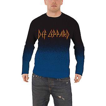 Def Leppard Jumper Sweater classic band Logo new Official Mens Dip Dye