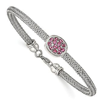 Stainless Steel Polished and Textured Pink Crystal Bracelet 7.5 Inch Jewelry Gifts for Women