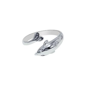 925 Sterling Silver With Rhodium Finish Shiny Cuff Like Dolphin Top Toe Ring Jewelry Gifts for Women