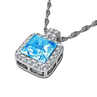 Aqua crystal necklace by dephini 925 sterling silver jewellery pendant