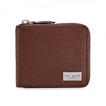 Ted Baker Baits Tan Leather Zip Aound Bi-fold Wallet With Coin Pkt