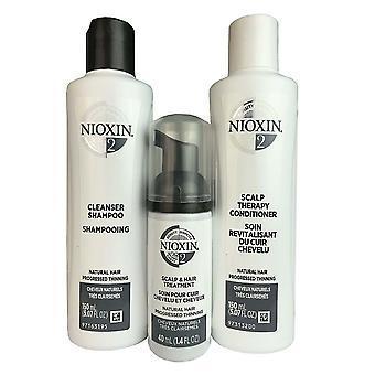 Nioxin sistema #2 trial kit limpador couro cabeludo terapia couro cabeludo tratamento cabelo 5,07 oz