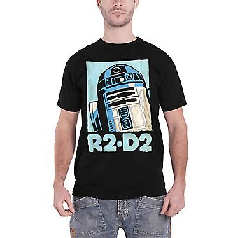 Official Mens Star Wars T Shirt R2D2 Retro Robot Vintage Poster New Black
