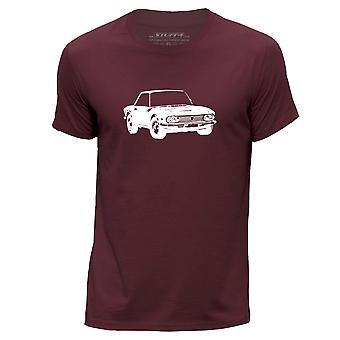 STUFF4 Men's Round Neck T-Shirt/Stencil Car Art / Fulvia HF/Burgundy