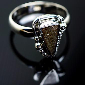 Meteorite Ring Size 7.25 (925 Sterling Silver)  - Handmade Boho Vintage Jewelry RING997541