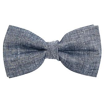 Dobell Mens Chambray Blue Linen Bow Tie Pre-Tied