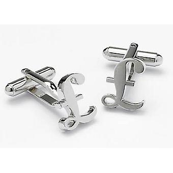 Sterling Cufflinks by Onyx Art - Gift Boxed - Pound Sign Money Trader