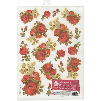 Stamperia Reispapier Blatt A4-rote Rosen
