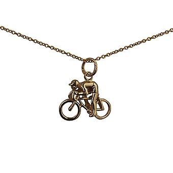 9ct Gold 14x18mm Bicycle and Cyclist Pendant with a cable Chain 20 inches