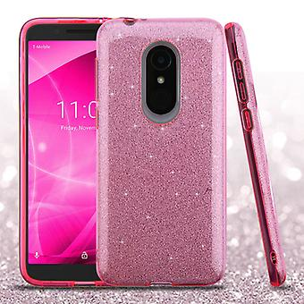 ASMYNA Hybrid Tilfelle for Alcatel T-Mobile Revvl 2/Revvl 2/3 - Rosa Full Glitter