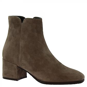 Leonardo Sko Kvinner's håndlagde hæler ankelstøvler taupe semsket skinn side glidelås