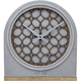 NeXtime-tafel klok – 21,5 x 24,5 x 5,5 cm-polyresin/hout-grijs