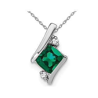 Lab Created Cushion-Cut Emerald Pendant Necklace 1.00 Carat (ctw) in 10K White Gold with Chain