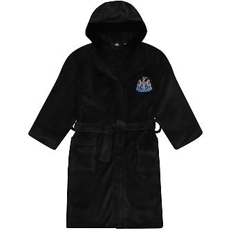 Newcastle United Boys Dressing Gown Robe Hooded Fleece Kids OFFICIAL Football