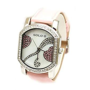 Solo Ladies Pink Heart Strap Watch