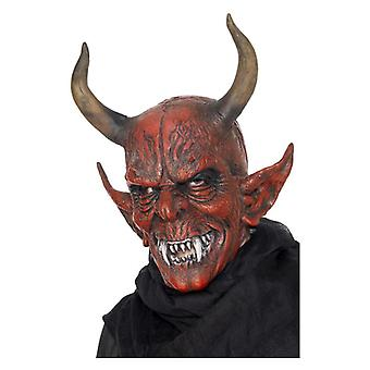 Mens Devil Demon Mask, Red, Overhead, Latex