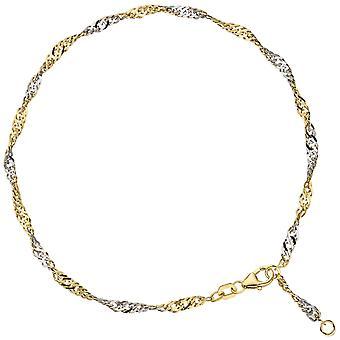 خلخال سلسلة الذهب 925 مطلي فضة الذهب 2.9 مم carabiner 25 سم