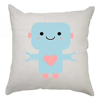 Robot Cushion Cover 40cm x 40cm - Light Blue Robot