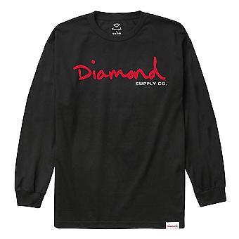 Diamond Supply Co OG Script Long Sleeve T-shirt Black Red