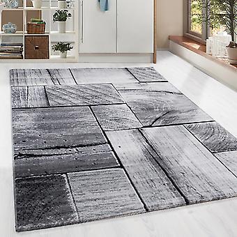 Design Shortflor Rug Wood Beam Look Living Room Grey Black Melted