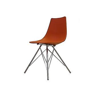 Fusion Living iconische oranje plastic eetkamer stoel met chroom metalen poten