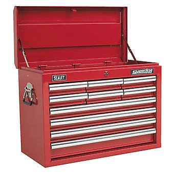 Sealey Ap33109 Topchest 10 Drawer With Ball Bearing Runners - Red