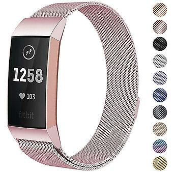 Per Fitbit Charge 4 /Charge 3 Strap Milanese Wrist Band Stainless Steel Magnetic[Large(6.7