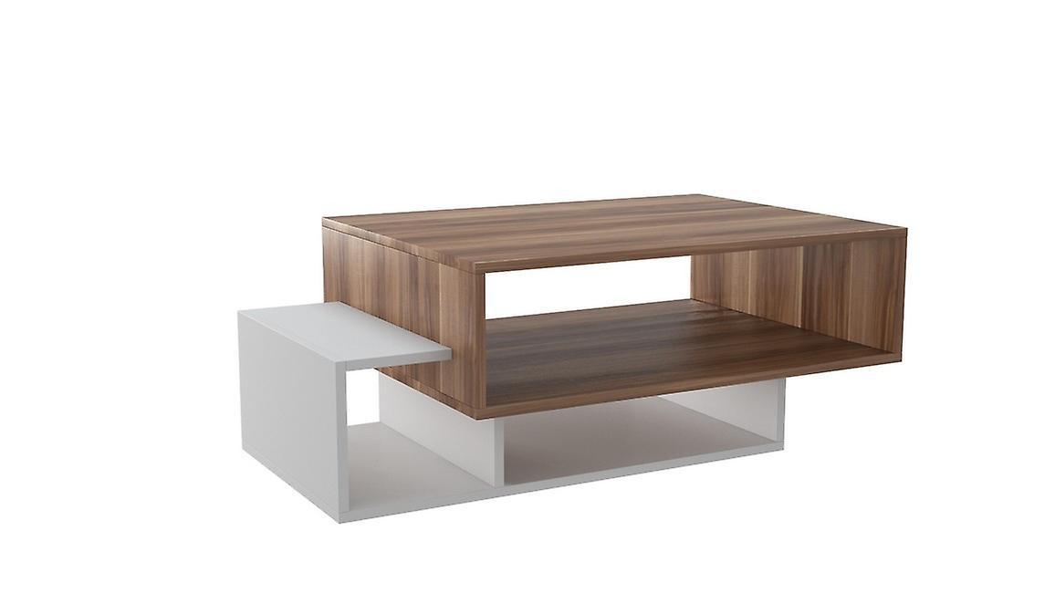 Tavolino Da Caffe' Gemini Color Bianco, Legno in Truciolare Melaminico 100x60x35 cm