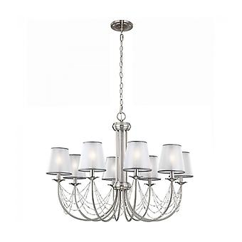 Aveline Pendant Light, Brushed Steel, 8 Bulbs, With Lampshade