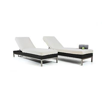 Polyrattan sofá de acero inoxidable Burdeos, 2 piezas - antracita