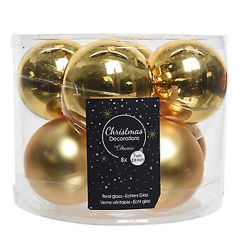 8 7cm Light Gold Glass Christmas Tree Bauble Decorations