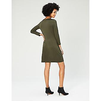 Brand - Daily Ritual Women's Jersey 3/4-Sleeve V-Neck T-Shirt Dress, Forest Green, Large