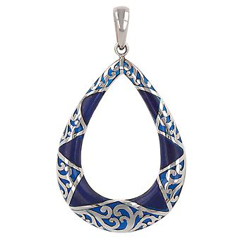 ADEN 925 Sterling Argent Lapis Lazuli Pear Shape Pendentif Collier (id 4260)