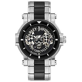 Harley Davidson Men's Skull And Flags | Two-Tone Steel Bracelet | Black Dial 78A124 Watch