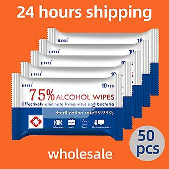 5 Set 50 Sheets Portable 75% Alcohol Wet Wipes For Disinfection