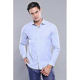 Mönstrad blå slim-fit skjorta | wessi