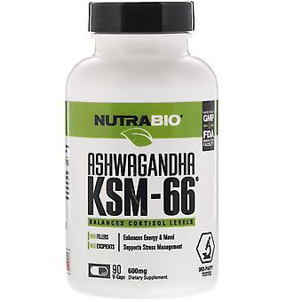 NutraBio Labs, Ashwagandha KSM-66, 600 mg, 90 V-Caps
