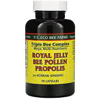 Y.S. Eco Bee Farms, Royal Jelly, Bee Pollen, Propolis, Plus Korean Ginseng, 90 C