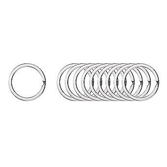 200PCS Rond Anneau de chaîne de clé plat Argent 1.6x30mm