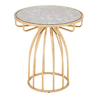 """20"""" Round Gold Open Pedestal Glass Top Side Table"""