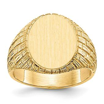 14k Yellow Gold Engravable Mens Signet Ring Size 10 Jewelry Gifts for Men - 11.7 Grams